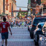 Man walking to Orioles Stadium
