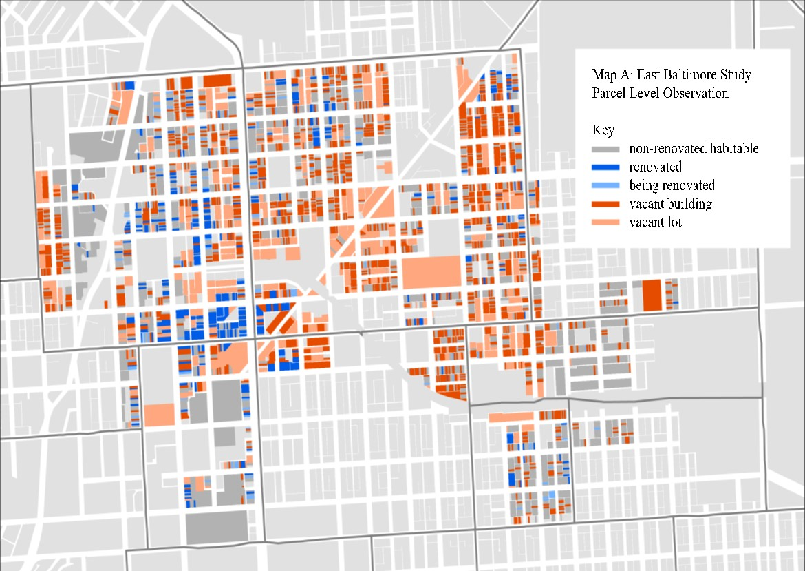 Map of abandoned and vacant land parcels.