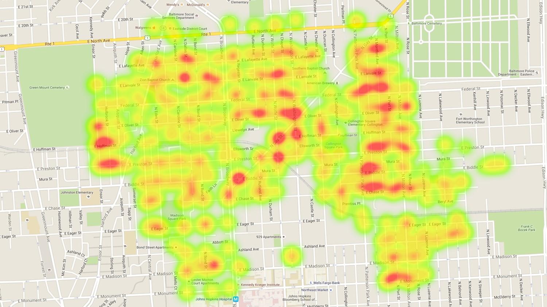 Trash on street heat map