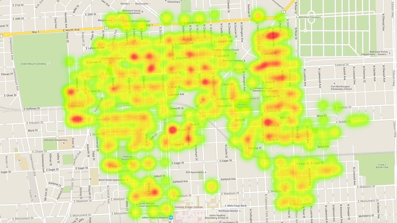 Cigarettes on street heat map