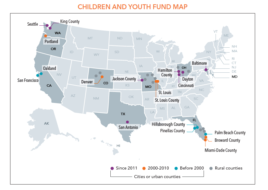 Children and Youth Fund Map of dedicated youth funds in the US.