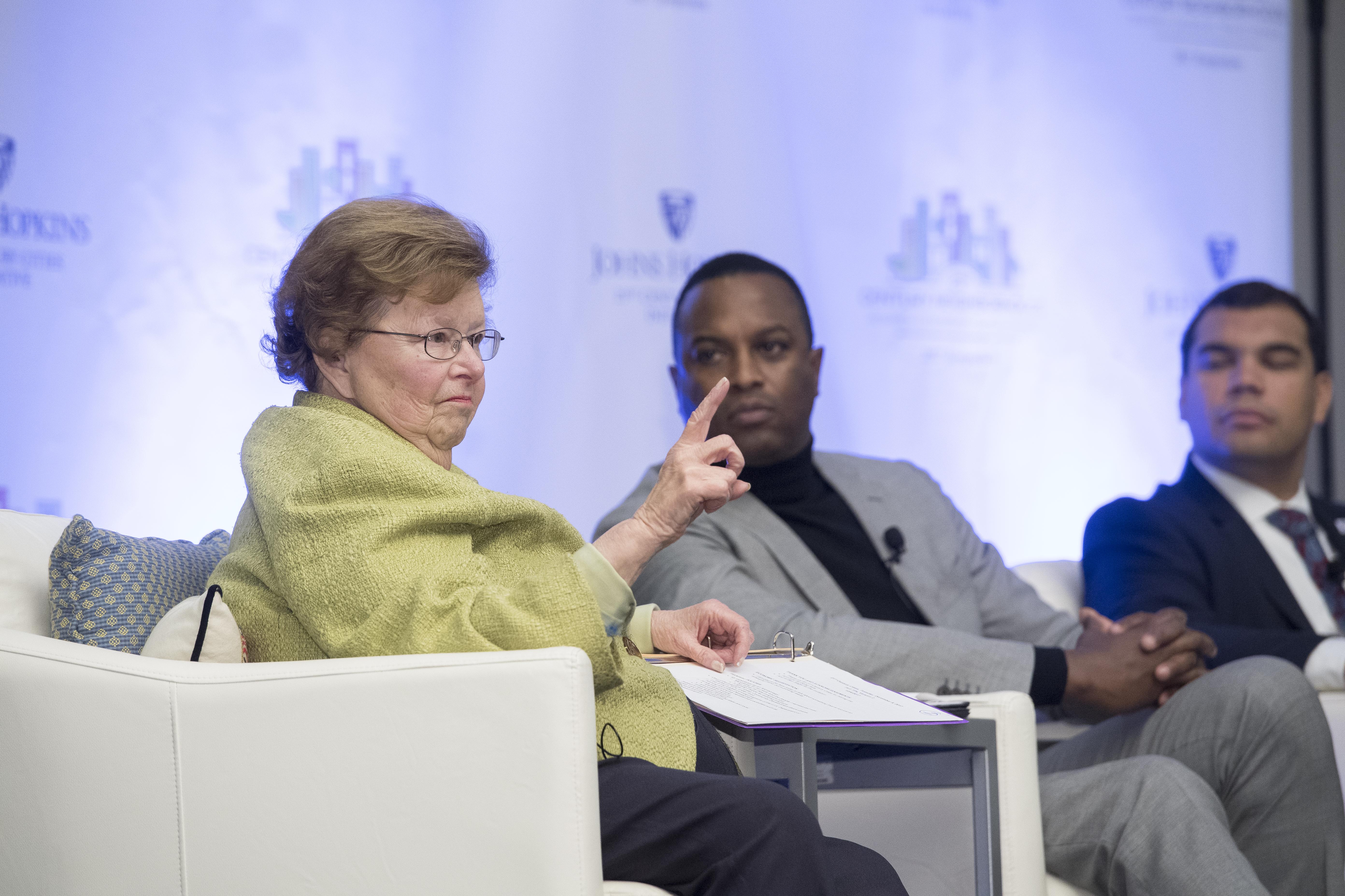 Senator Barbara Mikulski on a panel at the 21st Century Neighborhoods Symposium