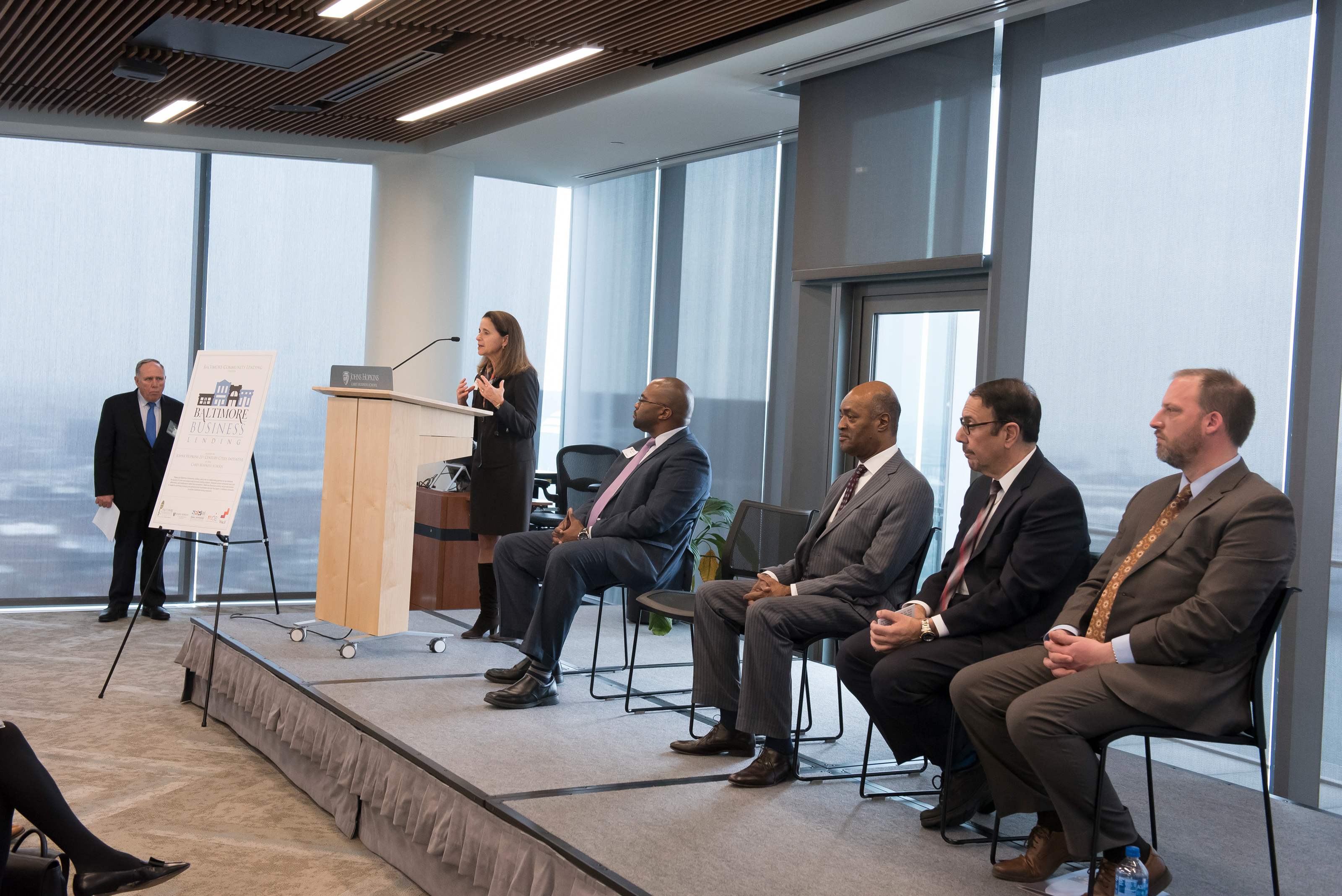 Baltimore Business Lending Launch Event with Mary Miller at podium