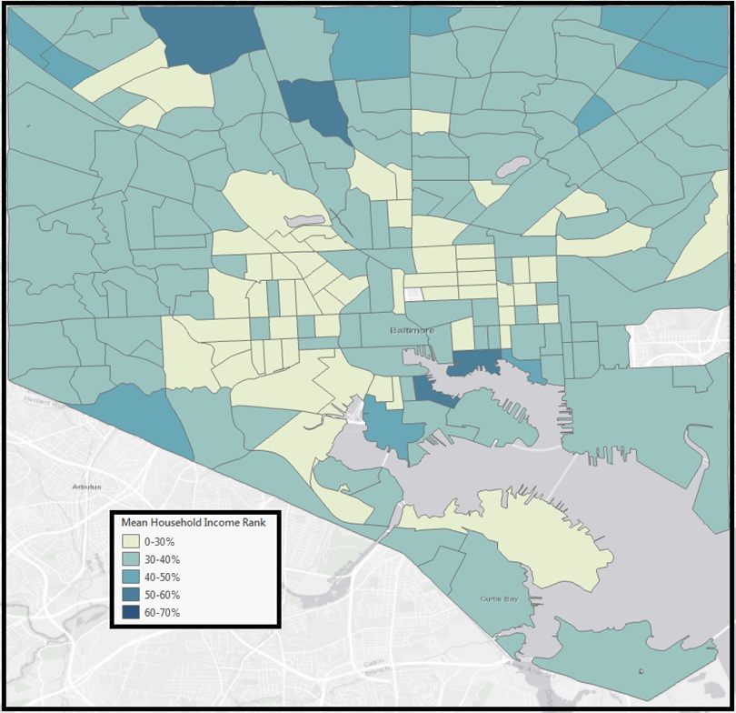 Map of Baltimore City Mobility by Census Tract