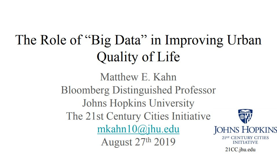 The Role of Big Data in Improving Urban Quality of Life Slide